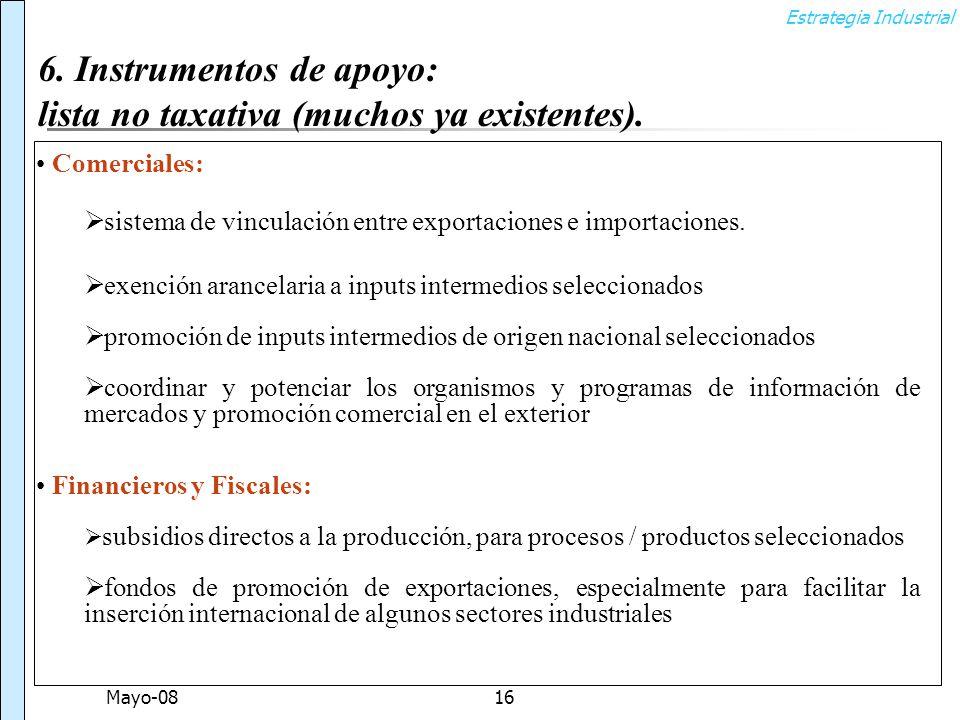 Estrategia Industrial Mayo-0816 Comerciales: sistema de vinculación entre exportaciones e importaciones.