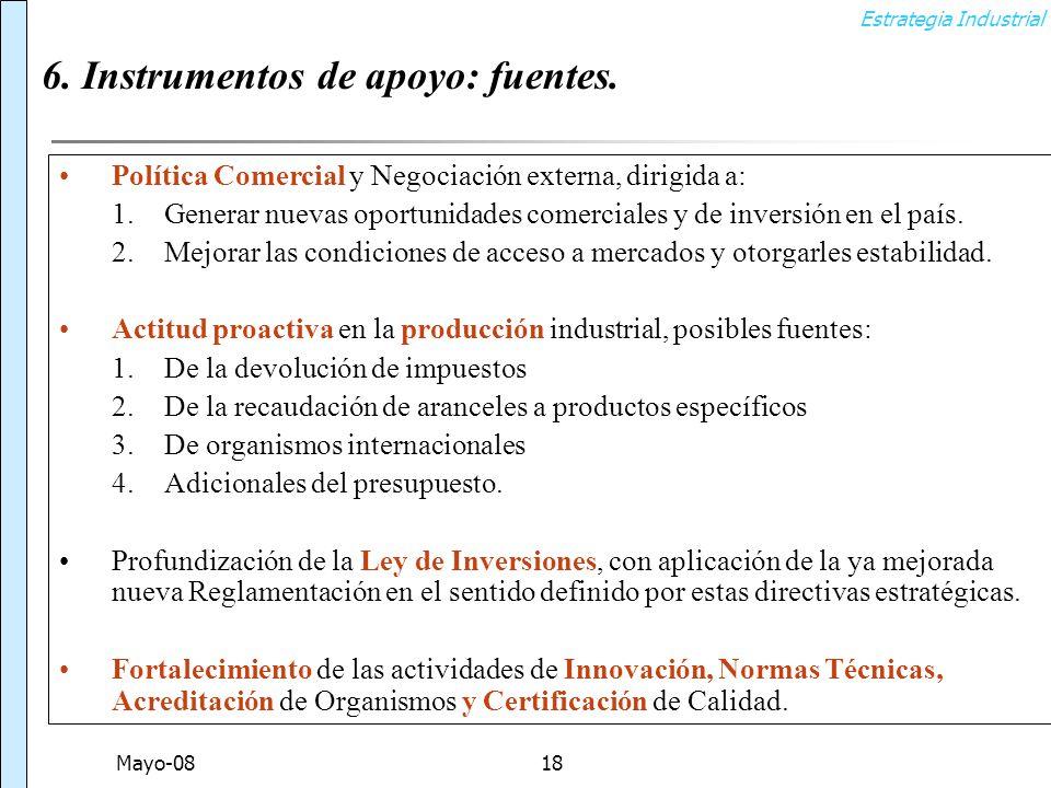Estrategia Industrial Mayo-0818 6. Instrumentos de apoyo: fuentes.
