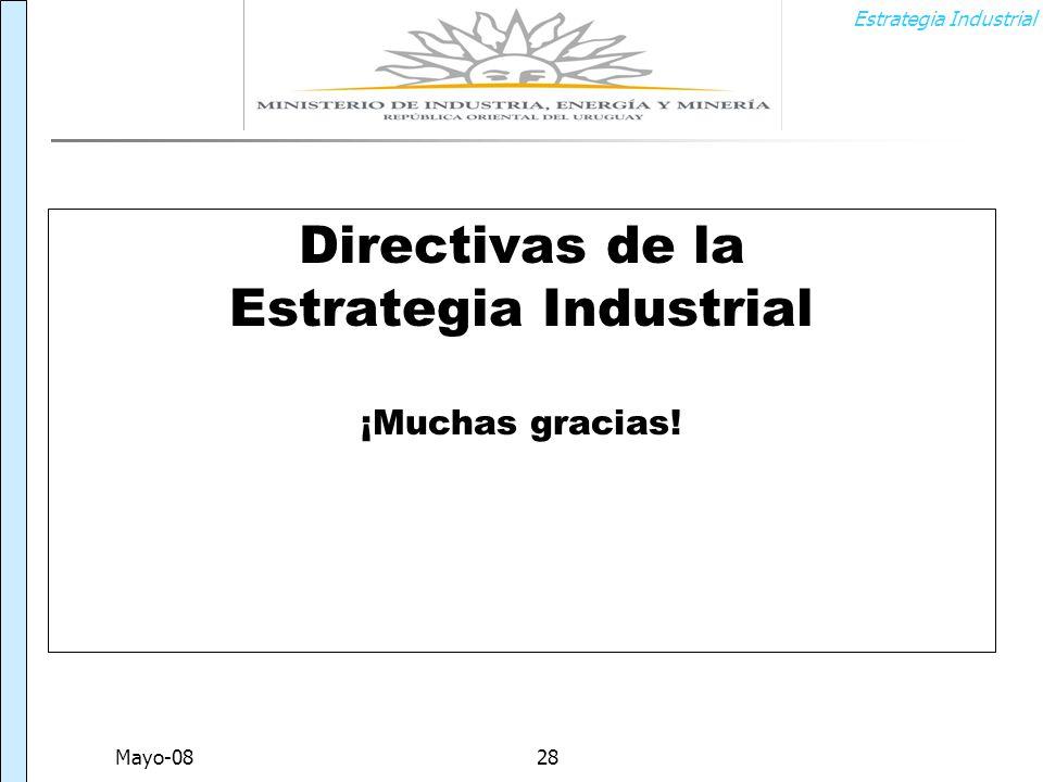 Estrategia Industrial Mayo-0828 Directivas de la Estrategia Industrial ¡Muchas gracias!
