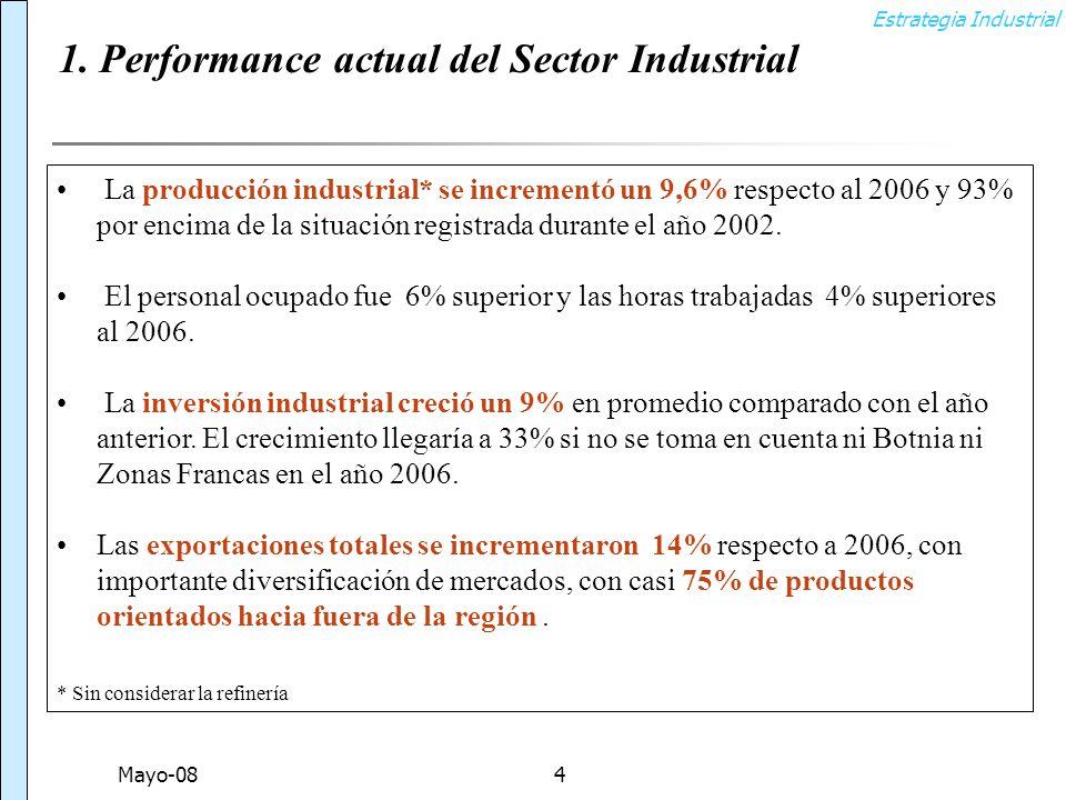 Estrategia Industrial Mayo-084 La producción industrial* se incrementó un 9,6% respecto al 2006 y 93% por encima de la situación registrada durante el año 2002.