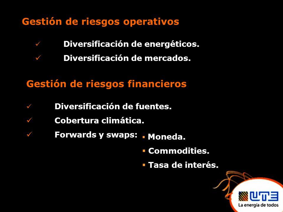 Gestión de riesgos operativos Diversificación de energéticos.