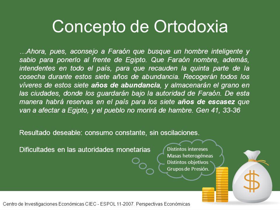 Concepto de Ortodoxia Resultado deseable: consumo constante, sin oscilaciones.