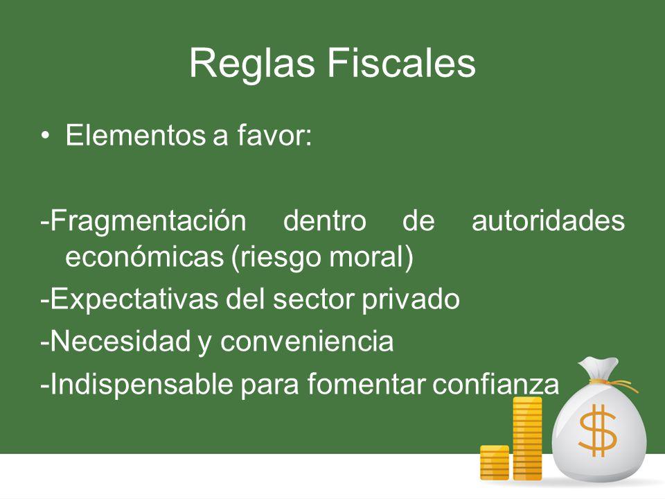 Reglas Fiscales Elementos en contra: -Momento anterior a los sucesos -Rigidez -Límites excesivos en recesiones si no se ponen cláusulas.