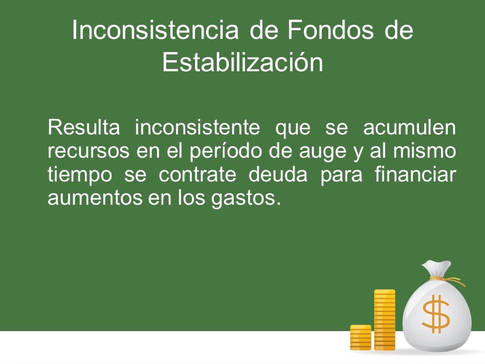 Inconsistencia de Fondos de Estabilización Resulta inconsistente que se acumulen recursos en el período de auge y al mismo tiempo se contrate deuda para financiar aumentos en los gastos.