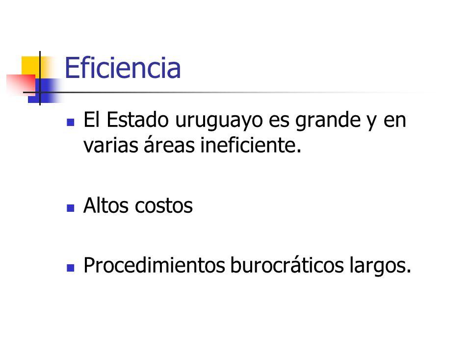 Eficiencia El Estado uruguayo es grande y en varias áreas ineficiente. Altos costos Procedimientos burocráticos largos.