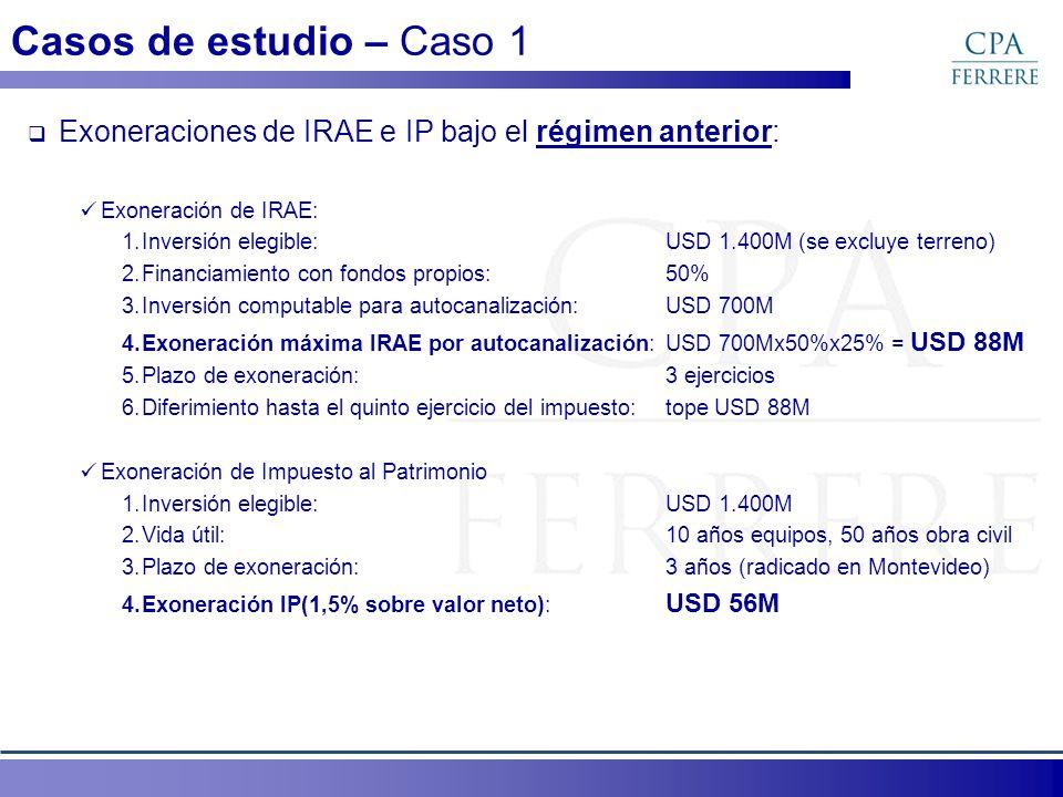 Casos de estudio – Caso 1 Exoneraciones de IRAE e IP bajo el régimen anterior: Exoneración de IRAE: 1.Inversión elegible:USD 1.400M (se excluye terren