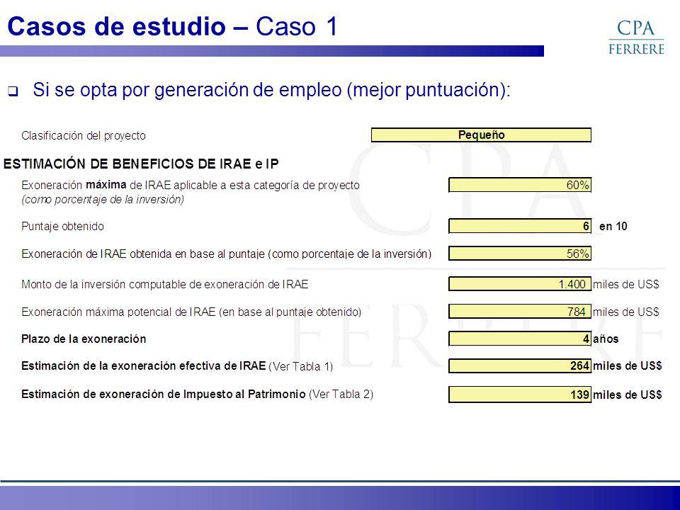 Casos de estudio – Caso 1 Si se opta por generación de empleo (mejor puntuación):