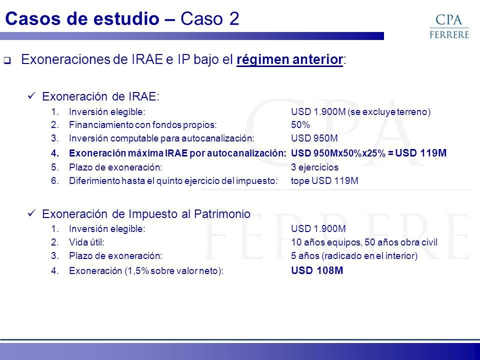 Exoneraciones de IRAE e IP bajo el régimen anterior: Exoneración de IRAE: 1.Inversión elegible:USD 1.900M (se excluye terreno) 2.Financiamiento con fo