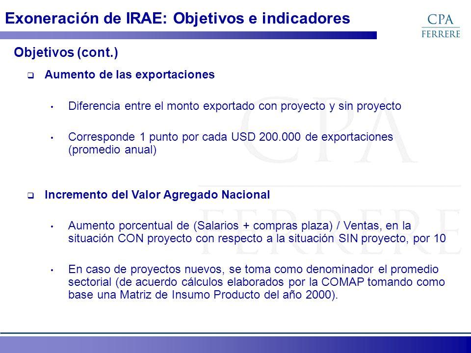 Aumento de las exportaciones Diferencia entre el monto exportado con proyecto y sin proyecto Corresponde 1 punto por cada USD 200.000 de exportaciones
