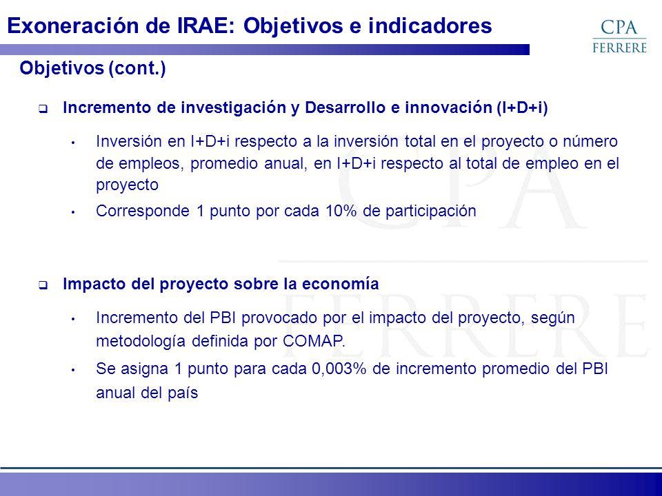 Exoneración de IRAE: Objetivos e indicadores Ponderadores de objetivos por tipo de proyecto Tipo de proyecto Objetivo (0 a 10 puntos) PequeñosMedianos T1 Medianos T2 Grandes T1 y T2 Grandes T3 y de Gran significación Empleo 100% 20% Exportaciones10%15% I+D+i 5%10% 5% Tecnol.