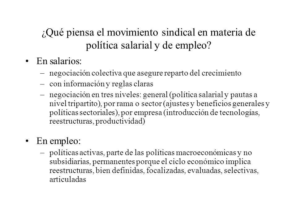 ¿ Qué piensa el movimiento sindical en materia de política salarial y de empleo.