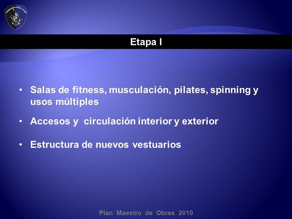 Plan Maestro de Obras 2010 Etapa I Salas de fitness, musculación, pilates, spinning y usos múltiples Accesos y circulación interior y exterior Estructura de nuevos vestuarios