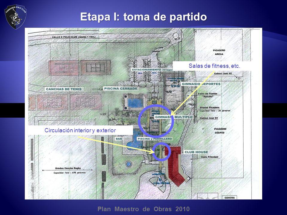 Plan Maestro de Obras 2010 Etapa I: toma de partido Salas de fitness, etc.