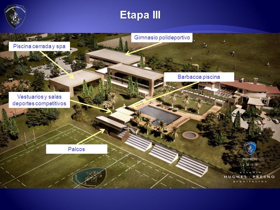 Etapa III Gimnasio polideportivo Piscina cerrada y spa Palcos Barbacoa piscina Vestuarios y salas deportes competitivos