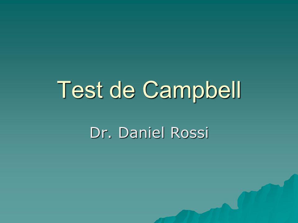 William Campbell Etólogo norteamericano fue su creador, y consiste en una fotografía del temperamento del cachorro en ese momento Se deben seguir las condiciones de su creador, sino no es el mismo test