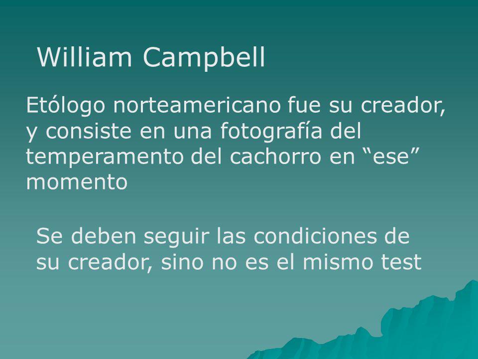 William Campbell Etólogo norteamericano fue su creador, y consiste en una fotografía del temperamento del cachorro en ese momento Se deben seguir las