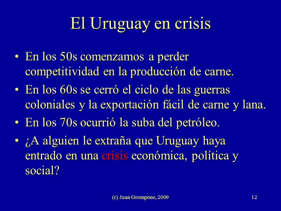 (c) Juan Grompone, 200912 El Uruguay en crisis En los 50s comenzamos a perder competitividad en la producción de carne.En los 50s comenzamos a perder