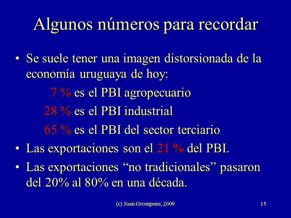 (c) Juan Grompone, 200915 Algunos números para recordar Se suele tener una imagen distorsionada de la economía uruguaya de hoy:Se suele tener una imag