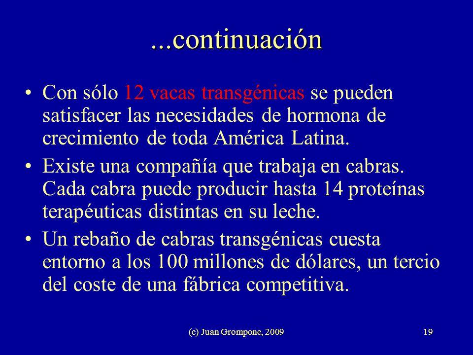 (c) Juan Grompone, 200919...continuación Con sólo 12 vacas transgénicas se pueden satisfacer las necesidades de hormona de crecimiento de toda América