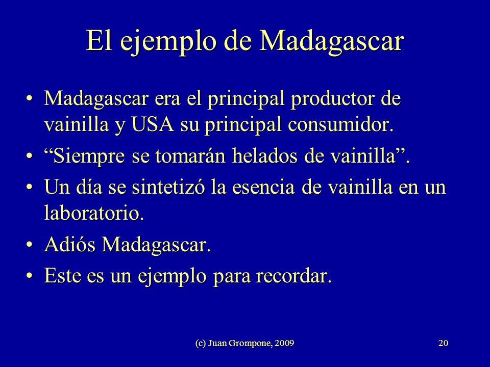 (c) Juan Grompone, 200920 El ejemplo de Madagascar Madagascar era el principal productor de vainilla y USA su principal consumidor.Madagascar era el p