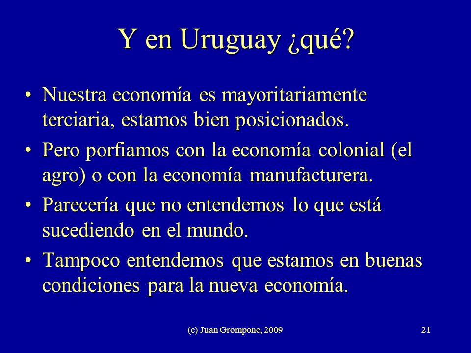 (c) Juan Grompone, 200921 Y en Uruguay ¿qué? Nuestra economía es mayoritariamente terciaria, estamos bien posicionados.Nuestra economía es mayoritaria