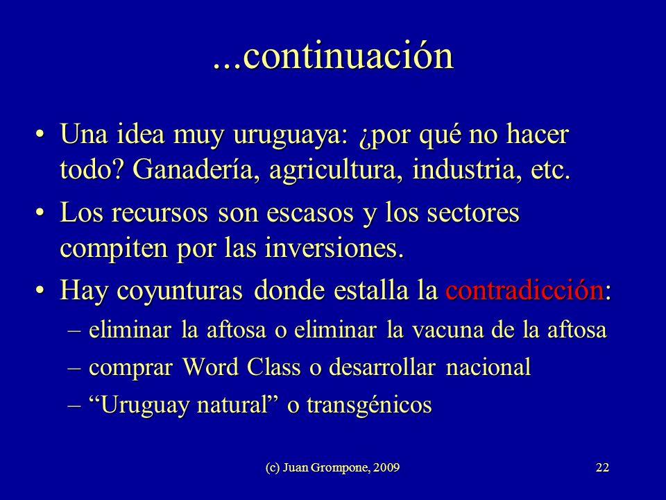 (c) Juan Grompone, 200922 Una idea muy uruguaya: ¿por qué no hacer todo? Ganadería, agricultura, industria, etc.Una idea muy uruguaya: ¿por qué no hac