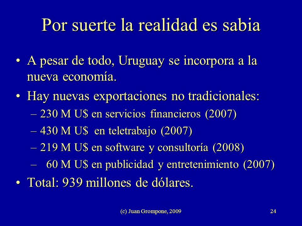 (c) Juan Grompone, 200924 Por suerte la realidad es sabia A pesar de todo, Uruguay se incorpora a la nueva economía.A pesar de todo, Uruguay se incorp
