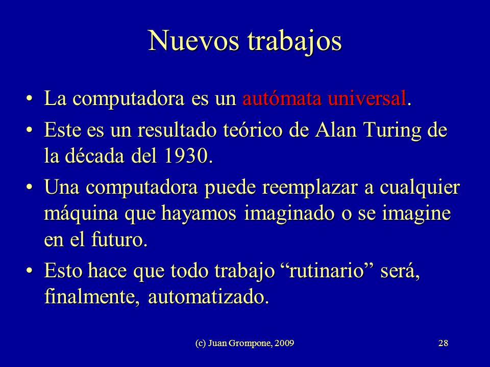 (c) Juan Grompone, 200928 Nuevos trabajos La computadora es un autómata universal.La computadora es un autómata universal. Este es un resultado teóric