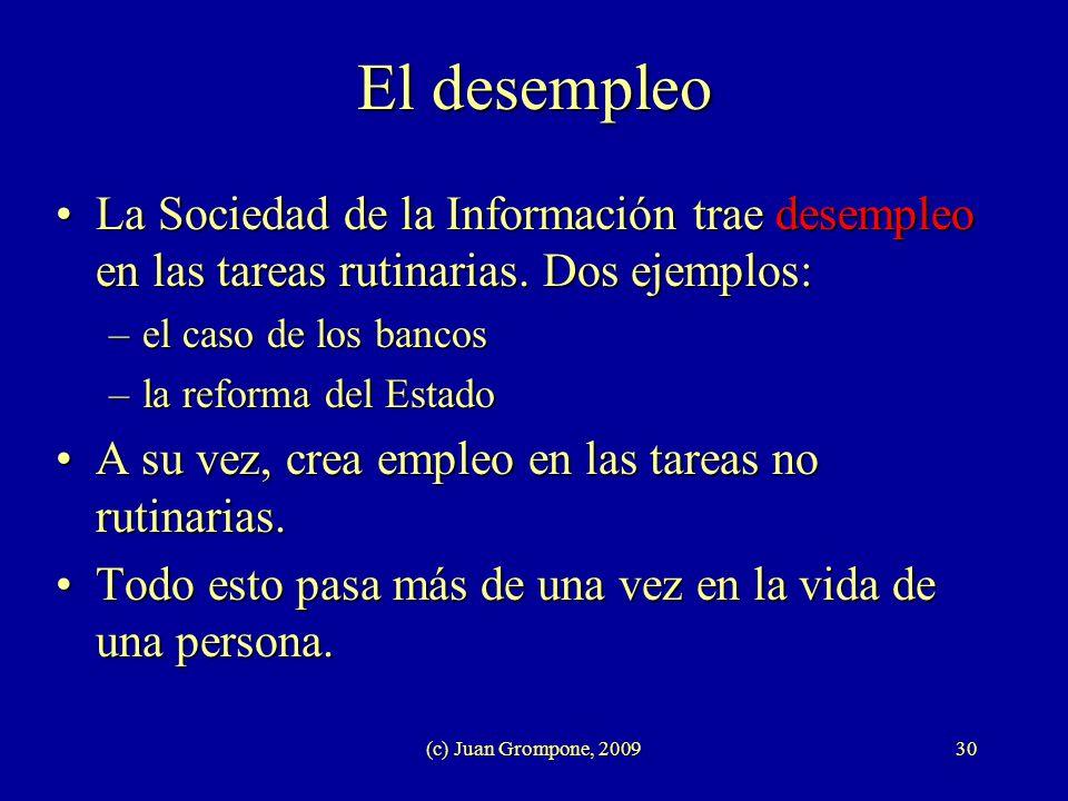 (c) Juan Grompone, 200930 El desempleo La Sociedad de la Información trae desempleo en las tareas rutinarias. Dos ejemplos:La Sociedad de la Informaci