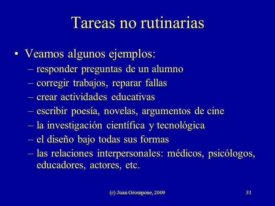 (c) Juan Grompone, 200931 Tareas no rutinarias Veamos algunos ejemplos:Veamos algunos ejemplos: –responder preguntas de un alumno –corregir trabajos,