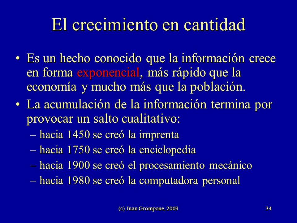 (c) Juan Grompone, 200934 El crecimiento en cantidad Es un hecho conocido que la información crece en forma exponencial, más rápido que la economía y