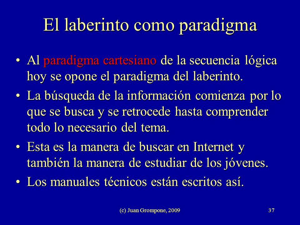 (c) Juan Grompone, 200937 El laberinto como paradigma Al paradigma cartesiano de la secuencia lógica hoy se opone el paradigma del laberinto.Al paradi