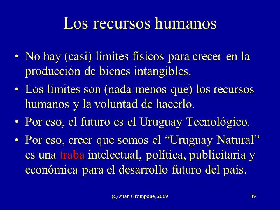 (c) Juan Grompone, 200939 Los recursos humanos No hay (casi) límites físicos para crecer en la producción de bienes intangibles.No hay (casi) límites