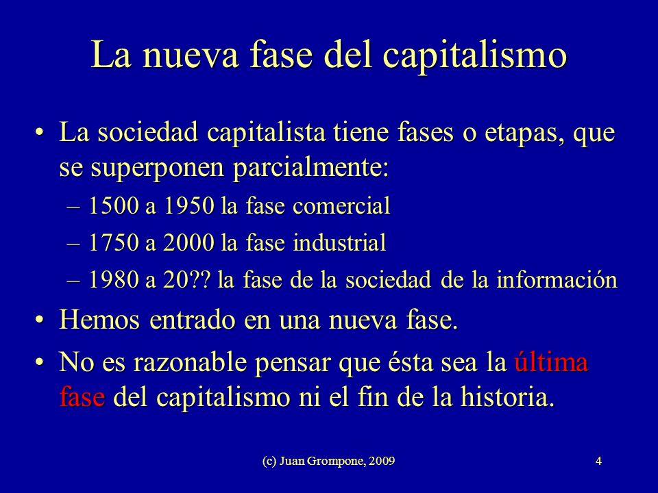 (c) Juan Grompone, 20094 La nueva fase del capitalismo La sociedad capitalista tiene fases o etapas, que se superponen parcialmente:La sociedad capita