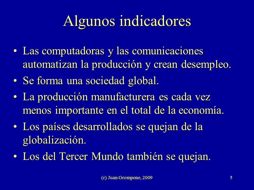 (c) Juan Grompone, 20095 Algunos indicadores Las computadoras y las comunicaciones automatizan la producción y crean desempleo.Las computadoras y las