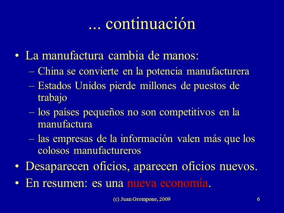 (c) Juan Grompone, 20096... continuación La manufactura cambia de manos:La manufactura cambia de manos: –China se convierte en la potencia manufacture
