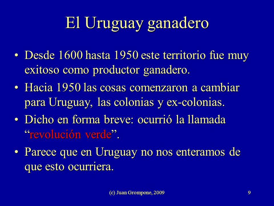 (c) Juan Grompone, 20099 El Uruguay ganadero Desde 1600 hasta 1950 este territorio fue muy exitoso como productor ganadero.Desde 1600 hasta 1950 este