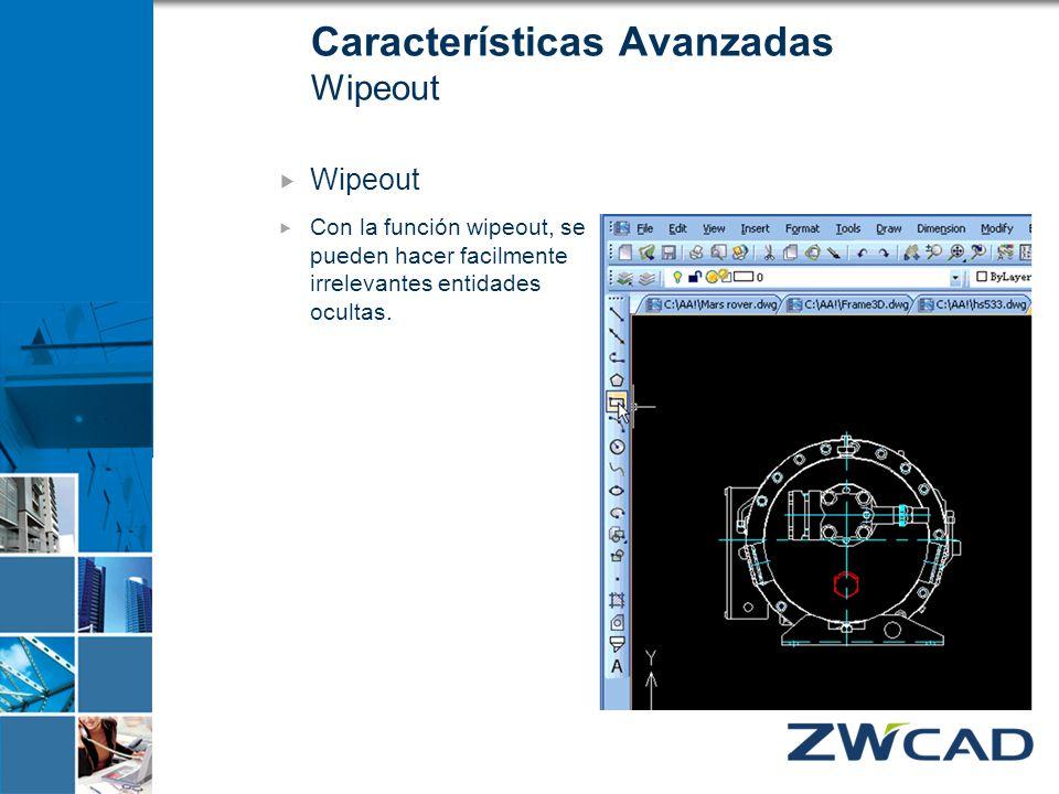 Características Avanzadas Wipeout Wipeout Con la función wipeout, se pueden hacer facilmente irrelevantes entidades ocultas.