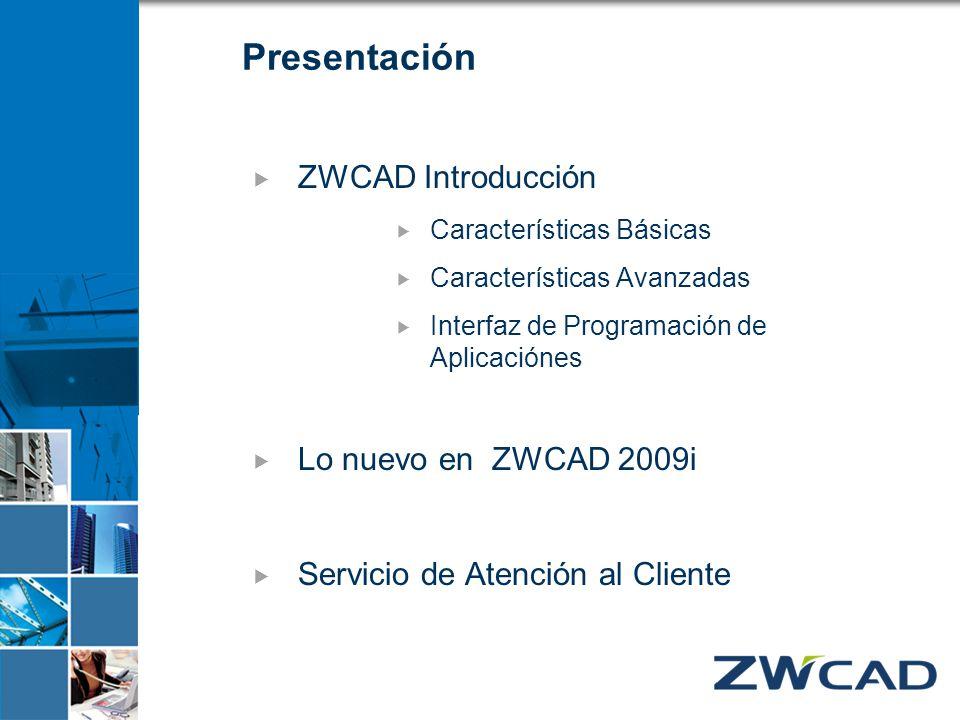 Presentación ZWCAD Introducción Características Básicas Características Avanzadas Interfaz de Programación de Aplicaciónes Lo nuevo en ZWCAD 2009i Ser
