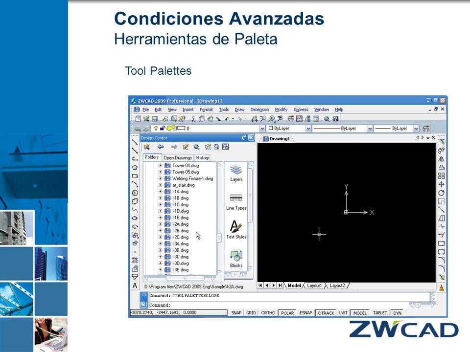 Condiciones Avanzadas Herramientas de Paleta Tool Palettes