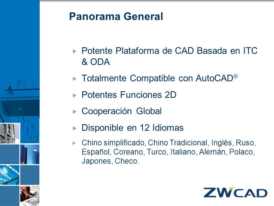 Panorama General Potente Plataforma de CAD Basada en ITC & ODA Totalmente Compatible con AutoCAD ® Potentes Funciones 2D Cooperación Global Disponible