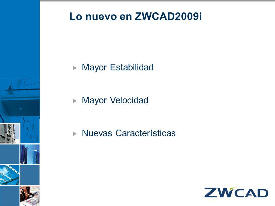 Lo nuevo en ZWCAD2009i Mayor Estabilidad Mayor Velocidad Nuevas Características