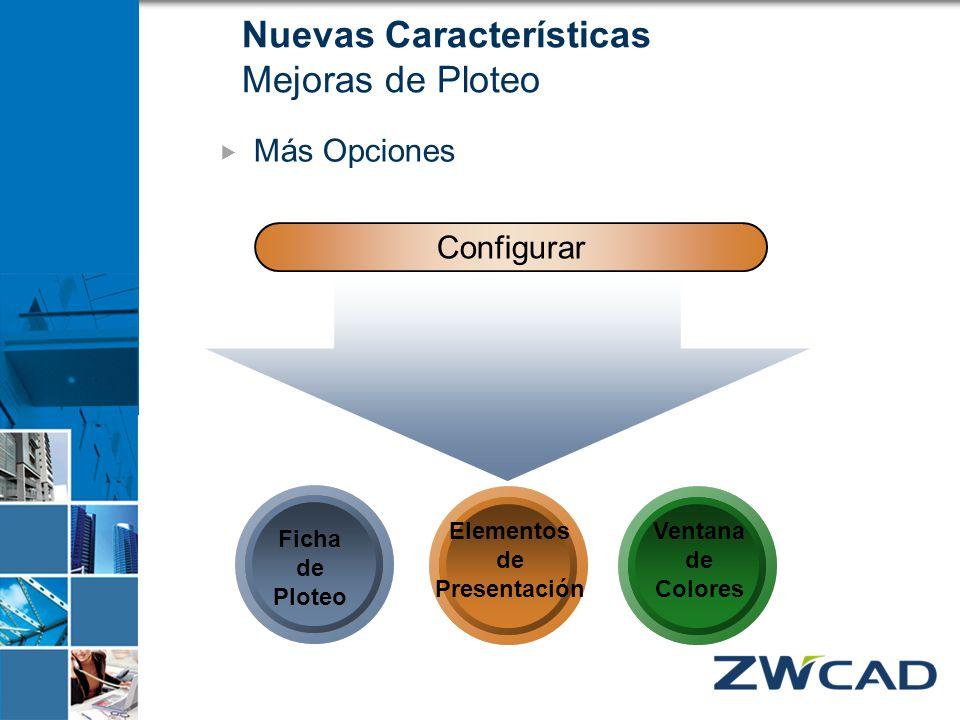Configurar Ficha de Ploteo Ventana de Colores Elementos de Presentación Nuevas Características Mejoras de Ploteo Más Opciones