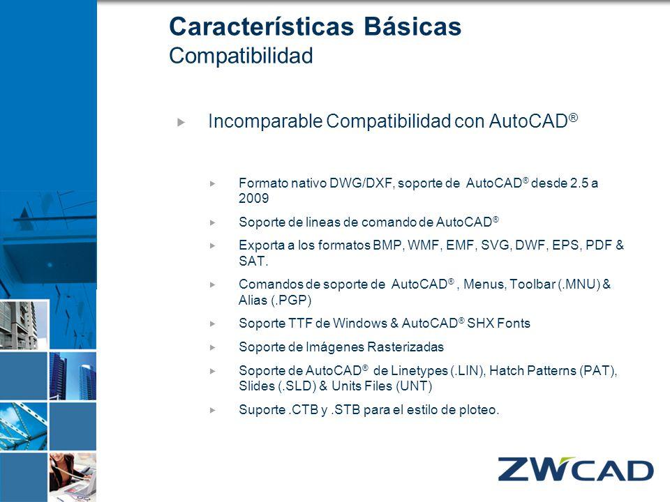 Características Básicas Compatibilidad Incomparable Compatibilidad con AutoCAD ® Formato nativo DWG/DXF, soporte de AutoCAD ® desde 2.5 a 2009 Soporte