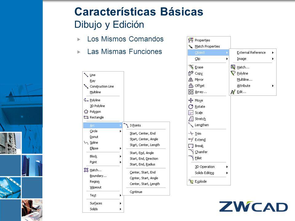 Características Básicas Dibujo y Edición Los Mismos Comandos Las Mismas Funciones