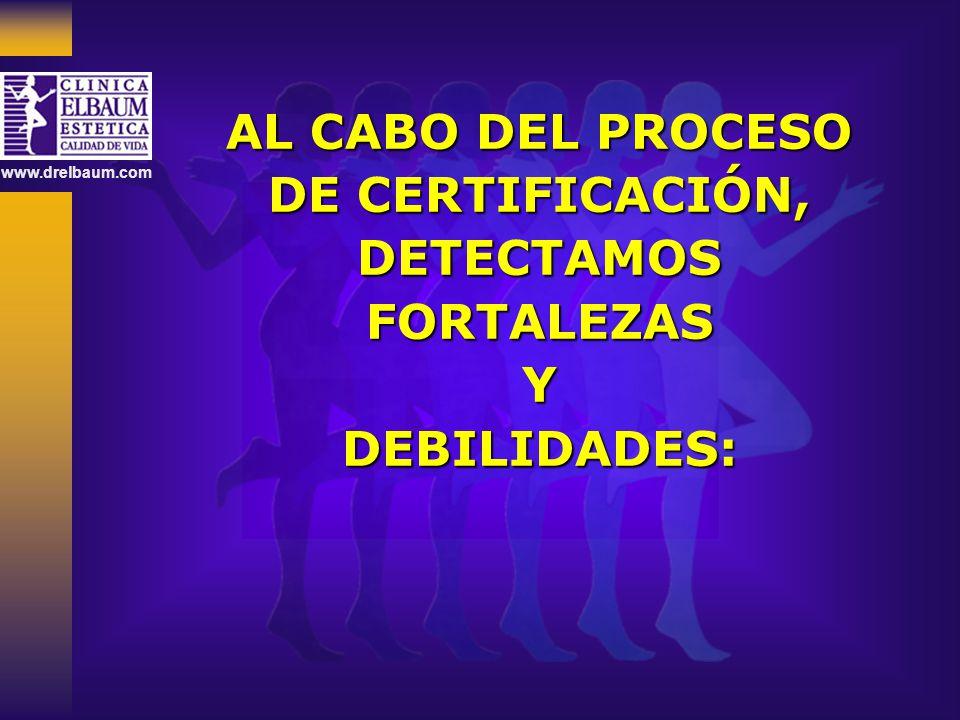 www.drelbaum.com AL CABO DEL PROCESO DE CERTIFICACIÓN, DETECTAMOSFORTALEZASYDEBILIDADES: