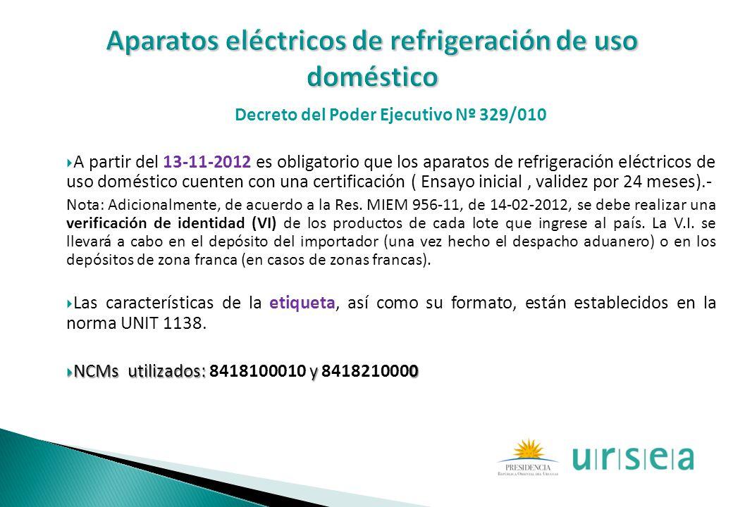 Decreto del Poder Ejecutivo Nº 329/010 A partir del 13-11-2012 es obligatorio que los aparatos de refrigeración eléctricos de uso doméstico cuenten co