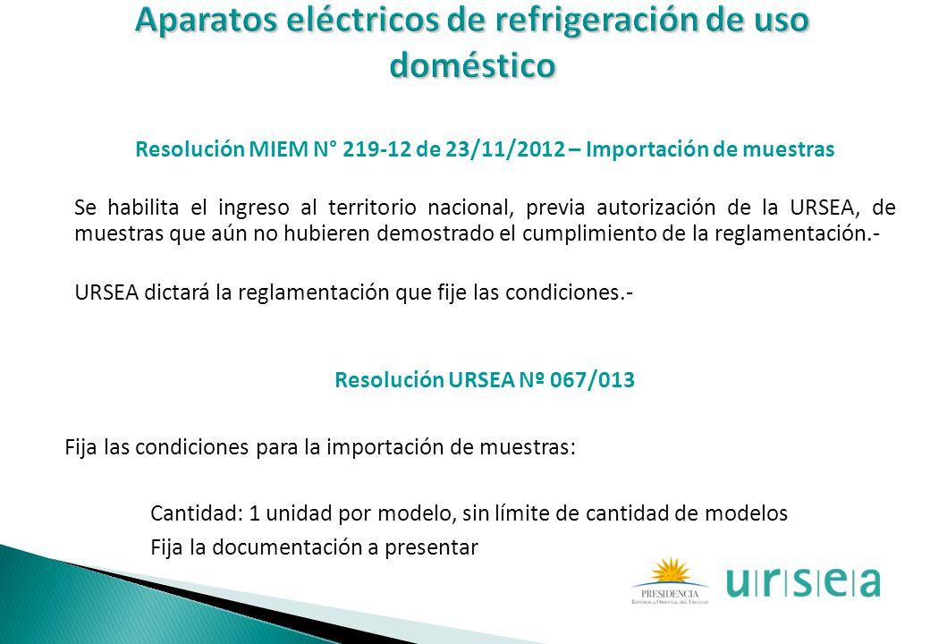 Resolución MIEM N° 219-12 de 23/11/2012 – Importación de muestras Se habilita el ingreso al territorio nacional, previa autorización de la URSEA, de m