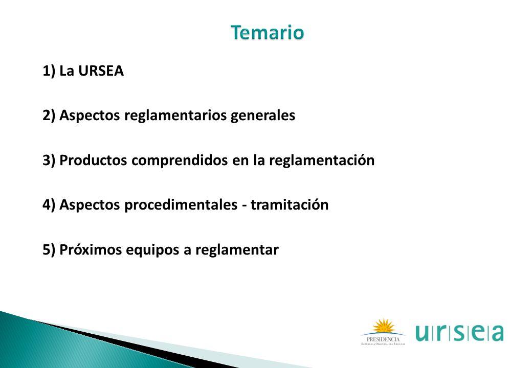 1) La URSEA 2) Aspectos reglamentarios generales 3) Productos comprendidos en la reglamentación 4) Aspectos procedimentales - tramitación 5) Próximos
