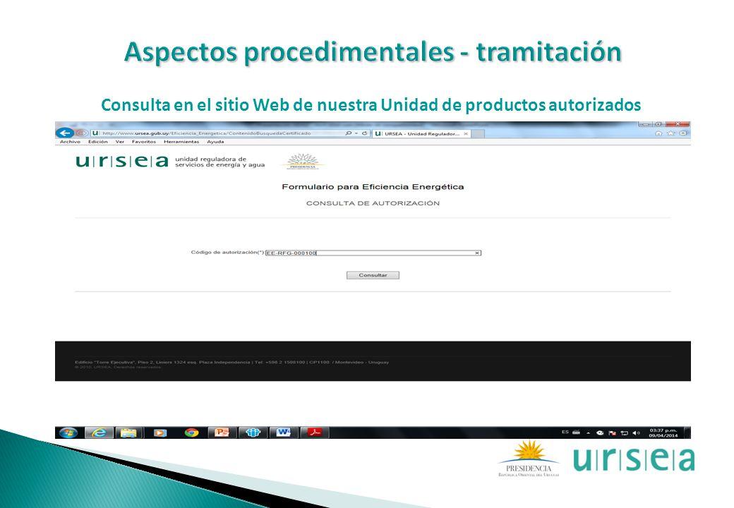 Consulta en el sitio Web de nuestra Unidad de productos autorizados